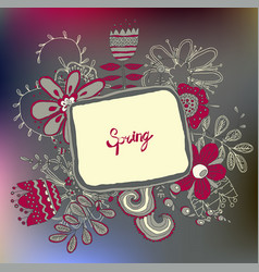 retro floral background frame with flowers vector image