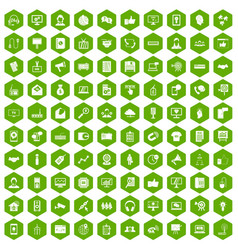 100 data exchange icons hexagon green vector