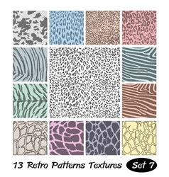 13 Animal Retro Patterns Textures vector image