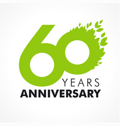 60 anniversary leaves logo vector