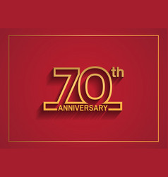 70 anniversary design with simple line style vector