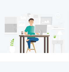 A freelancer guy working at home vector