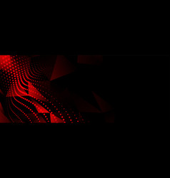 Abstract red low poly particles on black vector