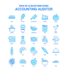 Accounting auditor blue tone icon pack - 25 icon vector