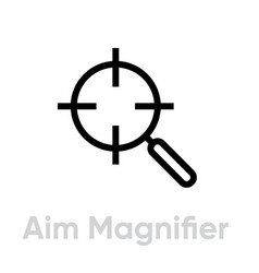 Aim magnifier target icon editable line vector