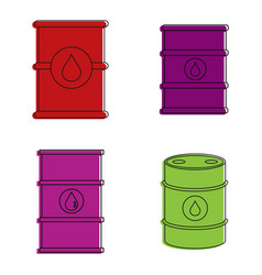 Barrel icon set color outline style vector
