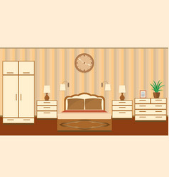 Bedroom interior in pastel shades with furniture vector