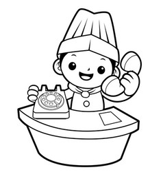 black and white cartoon chef mascot has telephone vector image