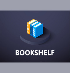 Bookshelf isometric icon isolated on color vector