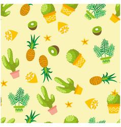 Botanicals pattern cactus pineapple kiwi herbs bac vector
