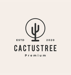 cactus tree hipster vintage logo icon vector image