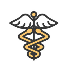 caduceus a symbolic represents hermes use in vector image
