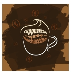 Cappuccino cup brown poster print vector image