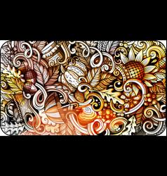 Cartoon cute colorful hand drawn doodles fall vector