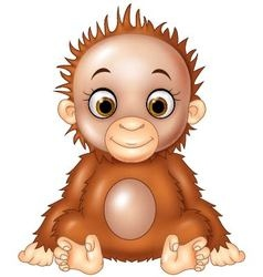 Cartoon funny baby orangutan isolated vector