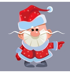 cartoon funny little Santa Claus vector image