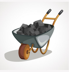Cartoon wheelbarrow with coal art vector
