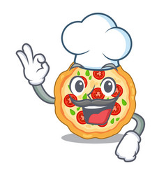 chef margherita pizza served character board vector image