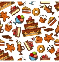 Chocolate desserts and pastries seamless pattern vector image