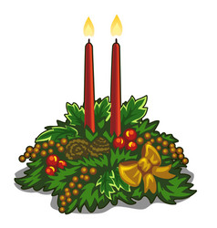 Christmas burning red candles decorated with holly vector