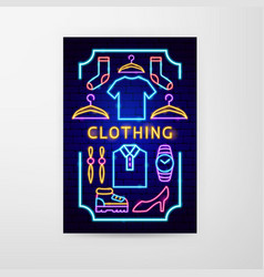 clothing neon flyer vector image