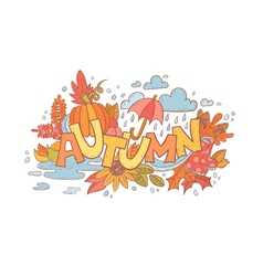 Colorful autumn doodle hand-drawn card vector