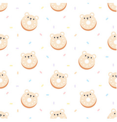 cute bear ring donut seamless pattern background vector image