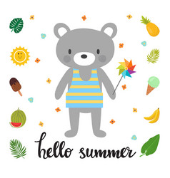 Cute bear with windmill hello summer funny vector