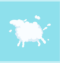 cute cartoon sheep in form of white fluffy cloud vector image