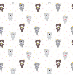 cute seamless pattern with cartoon bear lovely vector image