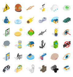 Destroy nature icons set isometric style vector