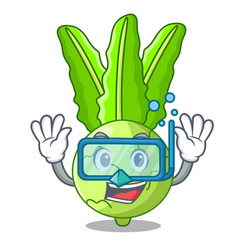 Diving character kohlrabi on a wooden table vector