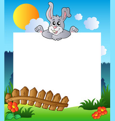 Easter frame with lurking bunny vector