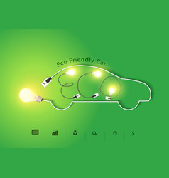Eco friendly car with creative light bulb ideas vector