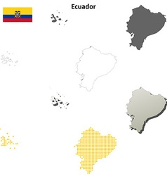 Ecuador outline map set vector