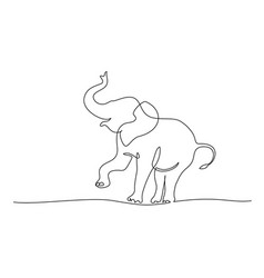 elephant walking and playing silhouette one line vector image