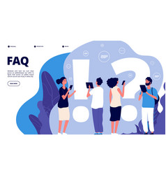 faq landing page confusion people ask frequent vector image