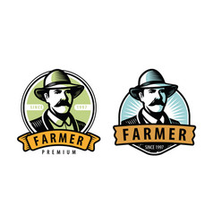 farmer emblem farm farming symbol vector image