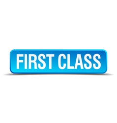 First class blue 3d realistic square isolated vector