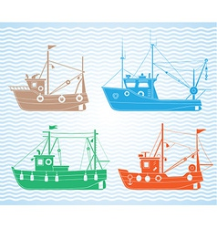 Fishing boats vector image
