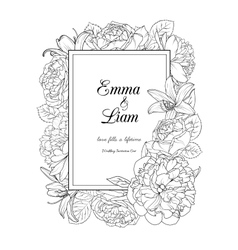 Floral frame design wedding invitation card vector image