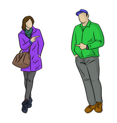 full length man and woman pointing vector image