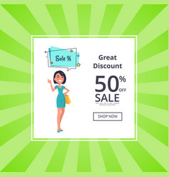 Great discount 50 off shop now poster with woman vector