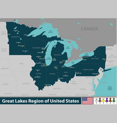 great lakes region of united states vector image