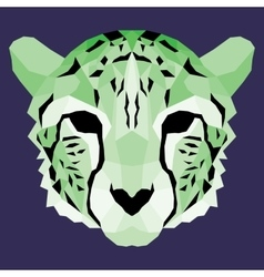 Green low poly cheetah vector image