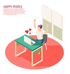 Happy people isometric composition vector