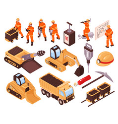 isometric mining set vector image