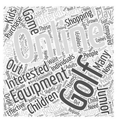 Junior Online Golf Equipment Word Cloud Concept vector