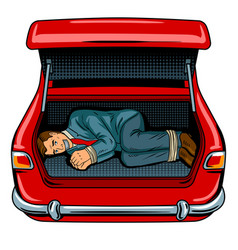 Kidnapped man in car trunk pop art vector