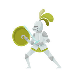 Knight in iron armour suit and sharp sword vector